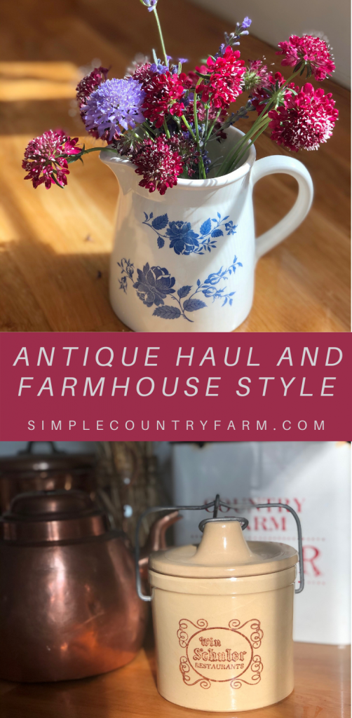Antique haul, vintage crock, thrifted pitcher, copper kitchen
