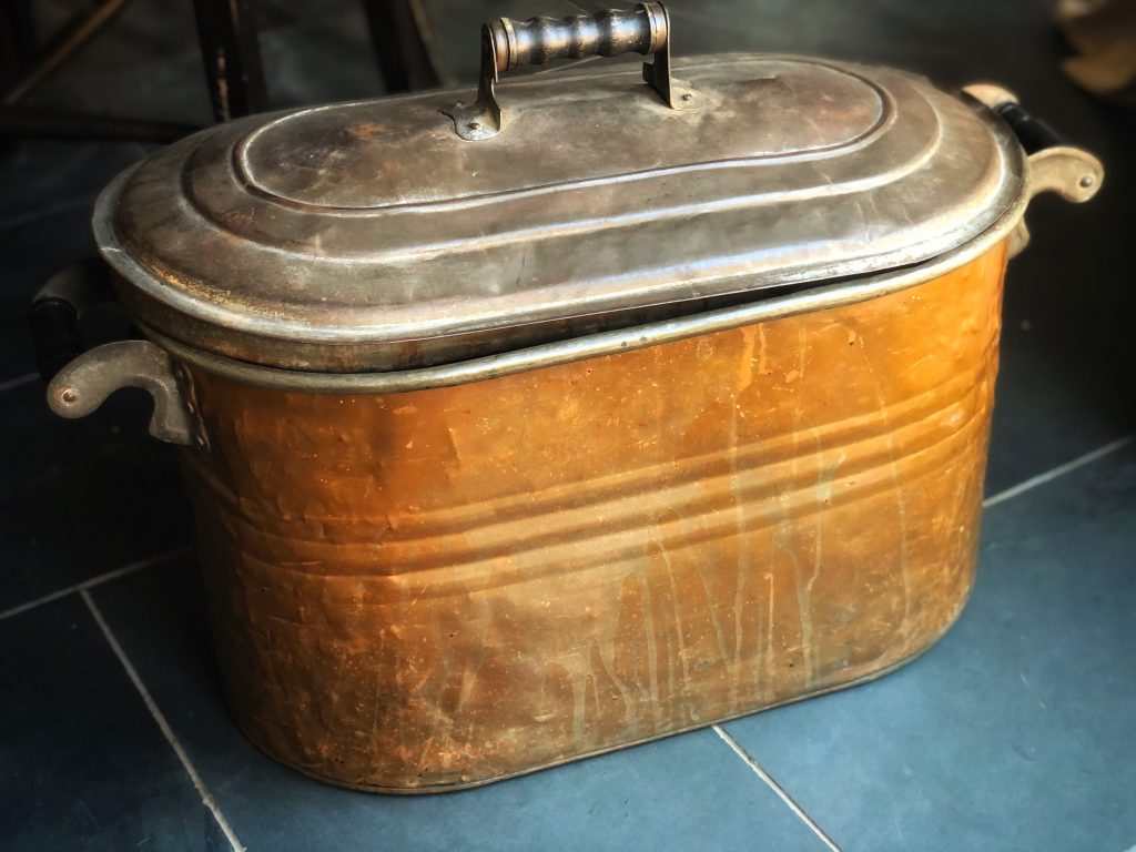 vintage wash tub, antique copper,