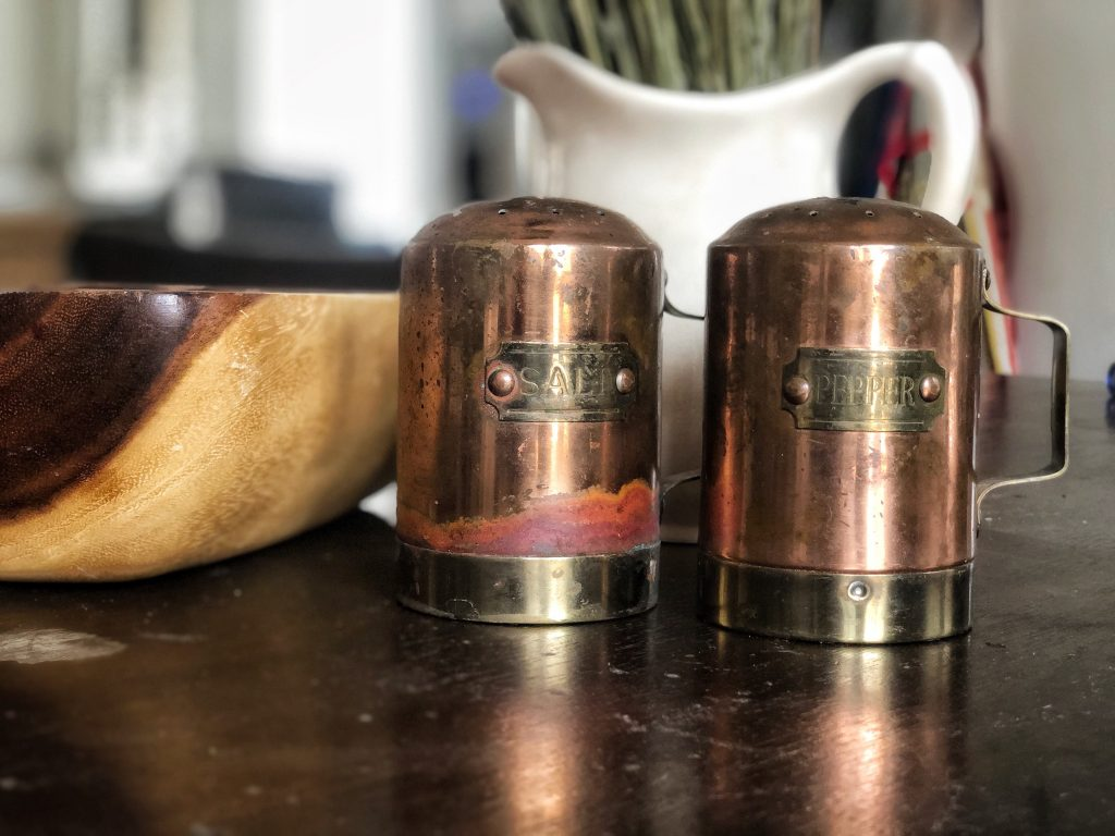 vintage copper, antique salt and pepper shakers