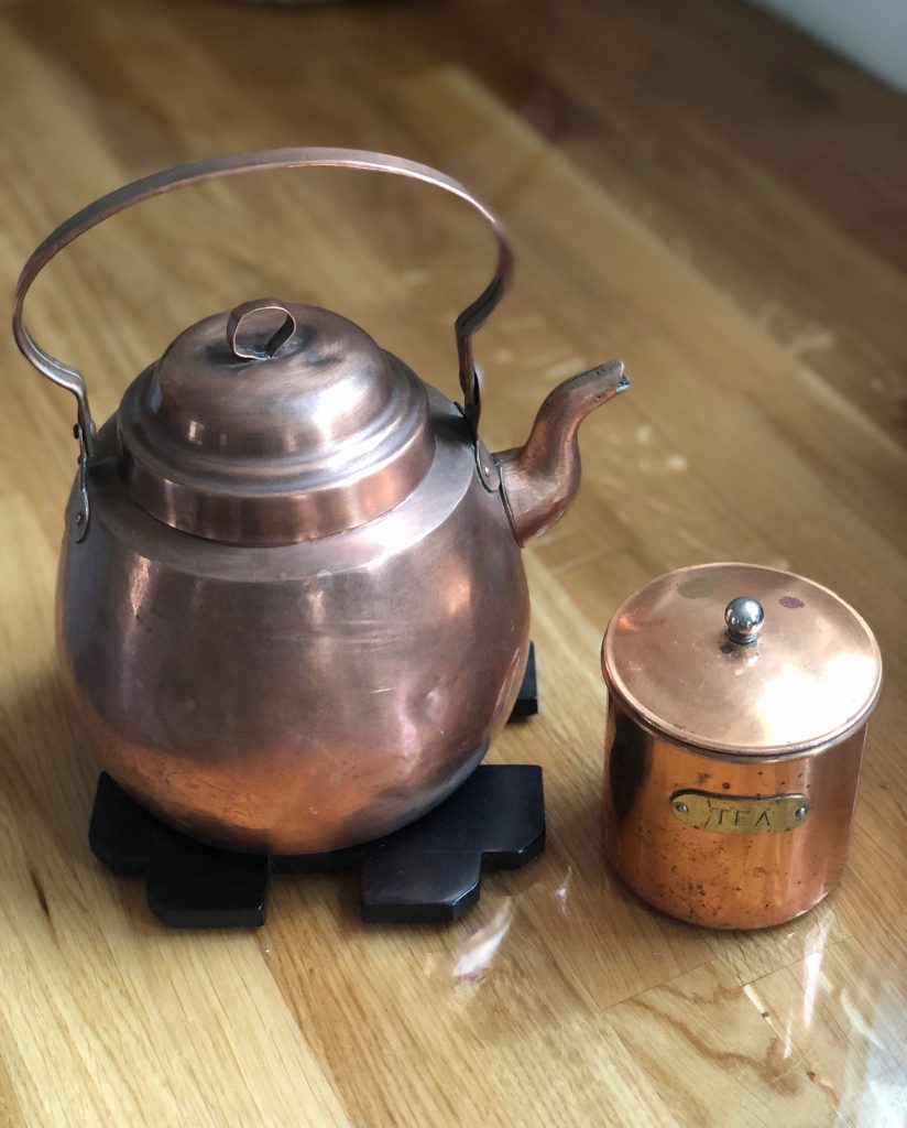 Antique haul, vintage tea pot, copper kitchen, antique copper tea pot
